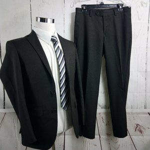 MW Slim Fit 36S 2 Button Brown Pinstripe 2pc Suit